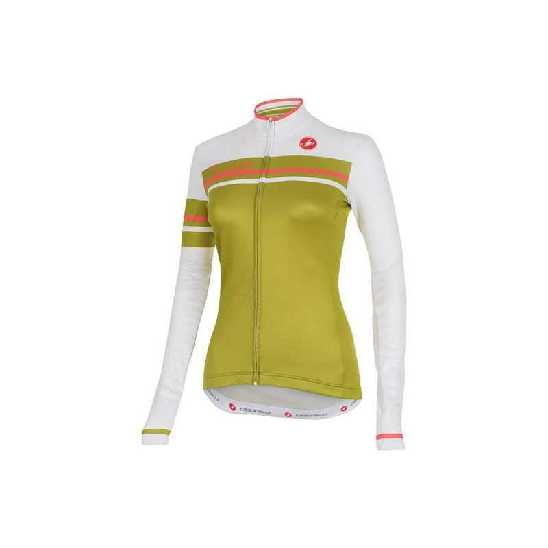 CASTELLI GIRONE LONGSLEEVE JERSEY LADIES WHITE / OLIVE GREEN XSMALL