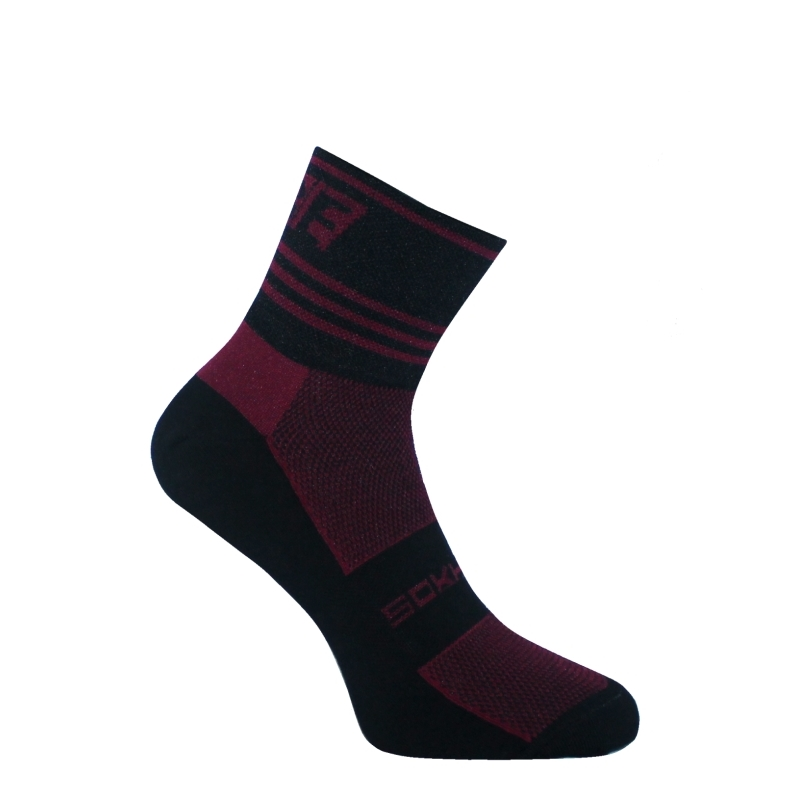 SOKHYTE SOCKS TBE V5 3 INCH BLACK / MAROON SMALL (35-39 EU)