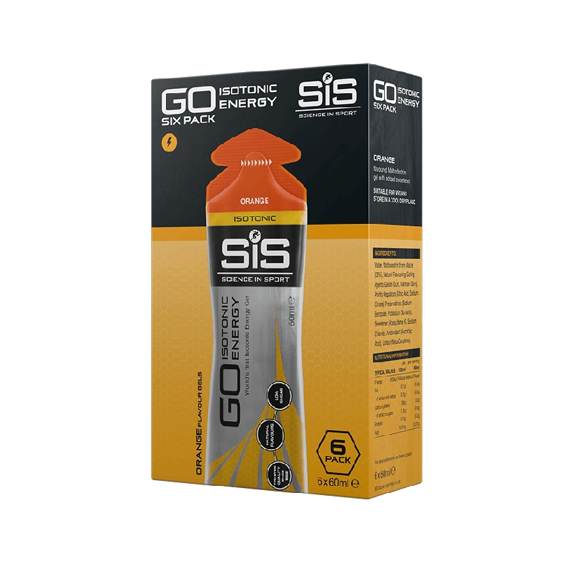 SIS NUTRITION GO PLUS ISOTONIC ENERGY GELS 60ML 6 PACK ORANGE