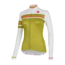 Image: CASTELLI GIRONE LONGSLEEVE JERSEY LADIES WHITE / OLIVE GREEN XSMALL