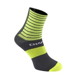 Image: CHAPEAU! LIGHTWEIGHT SOCKS STRIPES MID LENGTH FLUORO YELLOW EU36 - EU39