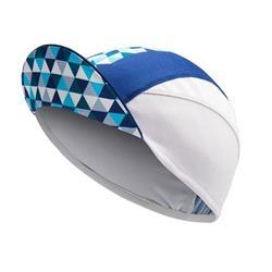 Image: CHAPEAU! LIGHTWEIGHT CYCLE CAP GEO STRIPE LADIES WHITE / METALLIC BLUE ONE SIZE