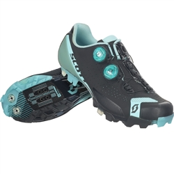 Image: SCOTT MTB RC SHOE WOMENS MATTE BLACK / TURQUOISE 40