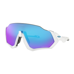 Image: OAKLEY FLIGHT JACKET POLISHED WHITE - PRIZM SAPPHIRE