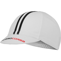 Image: CASTELLI ROSSO CORSA CYCLING CAP 101 WHITE/BLACK ONE SIZE
