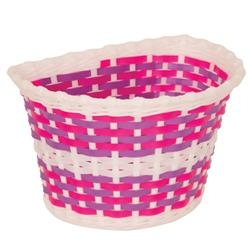 Image: PACIFIC KIDZ BITZ BASKET SMALL WOVEN PINK / WHITE / PURPLE
