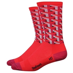Image: DEFEET AIREATOR 6 INCH FRAMEWORK SOCKS RED SMALL (36-39.5 EU)