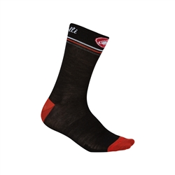 Image: CASTELLI ATELIER MERINO 13CM SOCK LADIES BLACK / RED L/XL (39-41 EU)